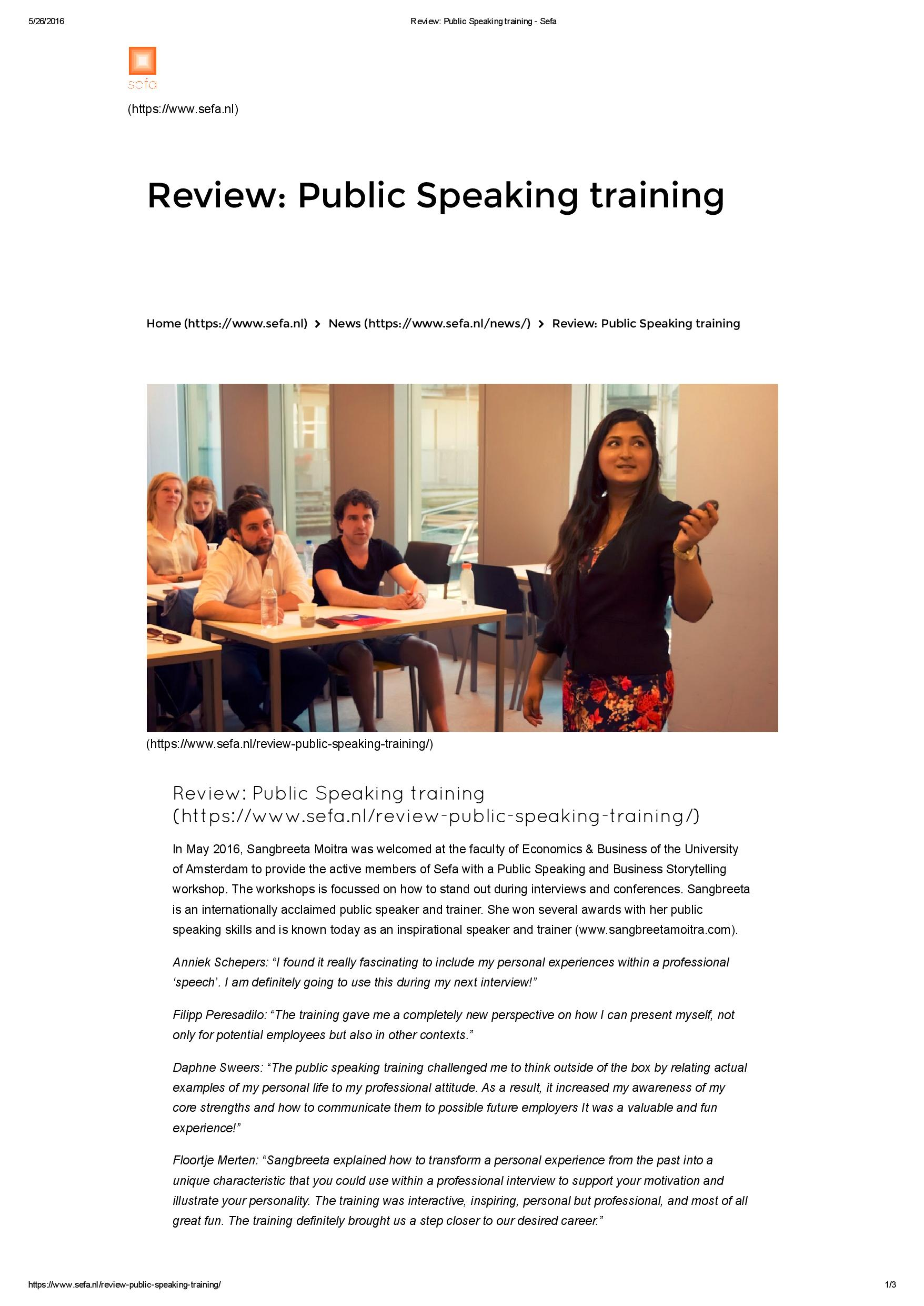 review public speaking training sefa page 001 jpg guest speaker on public speaking business storytelling university of amsterdam
